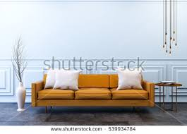 Modern Vintage Interior Design Loft Vintage Interior Living Room Blue Stock Illustration