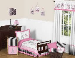 toddler bed bedding for girls french pink black eiffel tower paris toddler bedding 5pc
