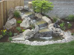 small yard landscaping ideas with small waterfall backyard home