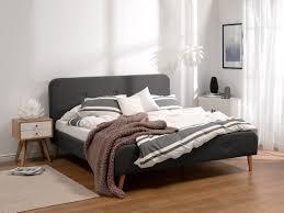 Schlafzimmer Bett 220 X 200 Polsterbett Grau Lattenrost 140 X 200 Cm Rennes Beliani De