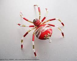 swirl zen teal spider beaded tree spider ornament w