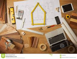 architect and interior designer work table stock photo image