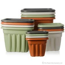 buy plastic plant pots from the vista range 40cm square black green