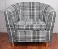 dove grey luxury wool effect tartan tullsta tub chair cover