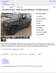 hunting truck for 2 500 could you see yourself in this 1989 suzuki sidekick