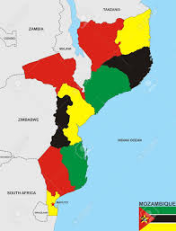 Mozambique Map Very Big Size Mozambique Country Political Map Stock Photo