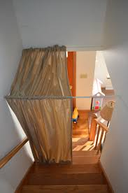 Door Draft Curtain Diy Stairwell Curtain Dandelion Discoveries