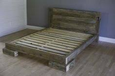 Platform Bed Wood Reclaimed Wood Platform Bed Salvaged Wood Headboard Vintage