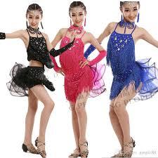 kids samba 2018 fashion sequin dresses for lace salsa