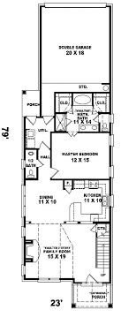 narrow home floor plans enderby park narrow lot home plan 087d 0099 house plans and more