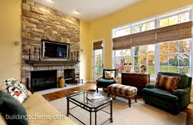 living room with fireplace in middle interior design