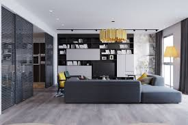 Using Laminate Flooring On Walls Dark Grey Walls Ar Coupled With Light Grey Curtains And A Large