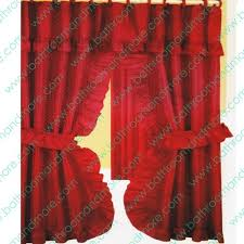 Swag Shower Curtain Sets Burgundy Red Fabric Ruffled Double Swag Shower Curtain Liner Set