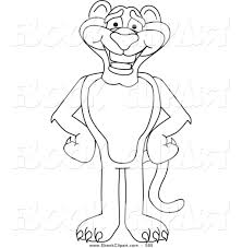 vector clip art of a coloring page outline of a panther character
