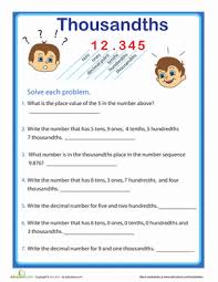 place value with decimals worksheets 5th grade place value practice thousandths worksheet education