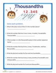 place value practice thousandths worksheet education com