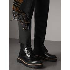 lace up polished leather boots in black men burberry