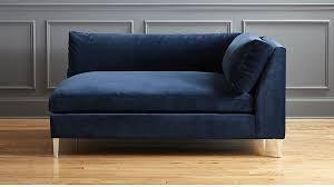 Blue Chaise Decker Left Arm Blue Velvet Chaise Cb2