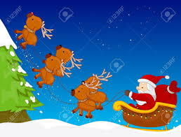 a colorful illustration of santa claus riding his sled pulled