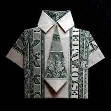 origami dress shirt with tie money art gift real one dollar