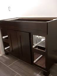 Dark Bathroom Furniture Bathroom 25 Inch Allen And Roth Vanity With Vessel Sink For