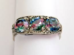 vintage german art deco rainbow crystal 800 silver ring