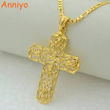 catholic crucifix anniyo gold color cross pendant necklaces for women men christian