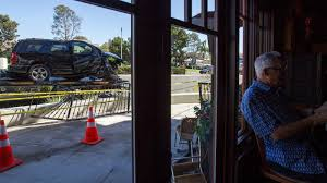 suv crash damages patio of the bungalow restaurant in corona del mar