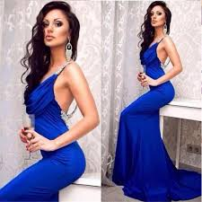 2015 elegant royal blue mermaid evening dresses deep v neck with