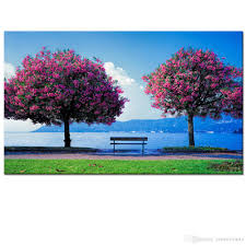 2017 nature scenery picture canvas printing two tree photo canvas