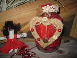 red trimed mason jar with teddy bears hearts lace bells