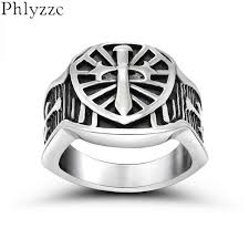 mens christian jewelry cool stainless steel armor shield ring templar crusade