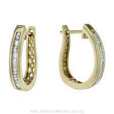 gold hoop earrings uk new arrive wmns 9ct gold 0 33ct baguette cut diamond hoop earrings