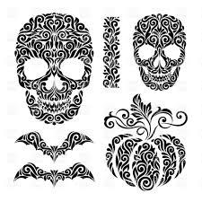 happy halloween holidays ornate elements skulls bats and pumpkin