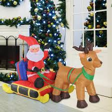 homcom 4ft inflatable santa claus sleigh with reindeer christmas