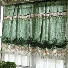 Lace Curtains Amazon Amazon Com Victorian Green Gingham With Crochet Lace Adjustable