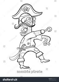 funny zombie pirate coloring page vector stock vector 587602112