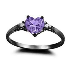 black and purple engagement rings 0 50ct purple amethyst cz shape black gold rhodium 925