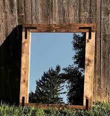 mirror wall mirror bathroom mirror rustic wood mirror wood