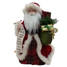 shop holiday living 16 in fabric santa christmas tree topper at