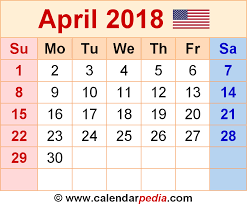Flowers Of The Month List - april 2018 calendars for word excel u0026 pdf