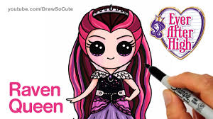 how to draw raven queen step by step chibi ever after high youtube
