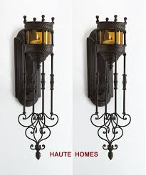 Iron Candle Wall Sconce Candle Wall Sconces Tuscan Old World Antique Scroll 24 5