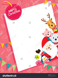 christmas card santa claus animals merry stock vector 328947233