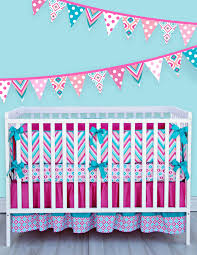 Pink And Aqua Crib Bedding Newborn Pink Aqua Features A Chevron And