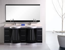 Black Bathroom Vanity Set Varnished Oak Wood Vanity With Double Black Stone Vessel Sinks