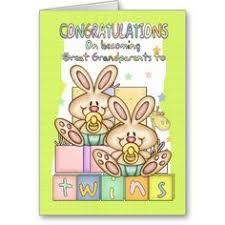 new baby congratulations for great grandparents twins card