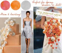 april wedding colors firecracker and clementine oranges paired with silver gray wedding