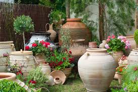 container gsarden and big pots ornaments plant flower stock