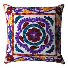 Pillow Designs by Indian Handmade Designer Cushion Cover Suzani Embroidered Handwork